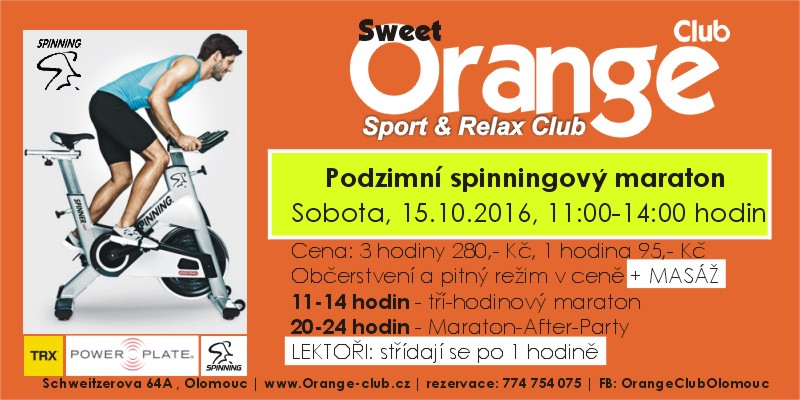 Podzimmní spinning maraton ve Sweet Orange Club Olomouc