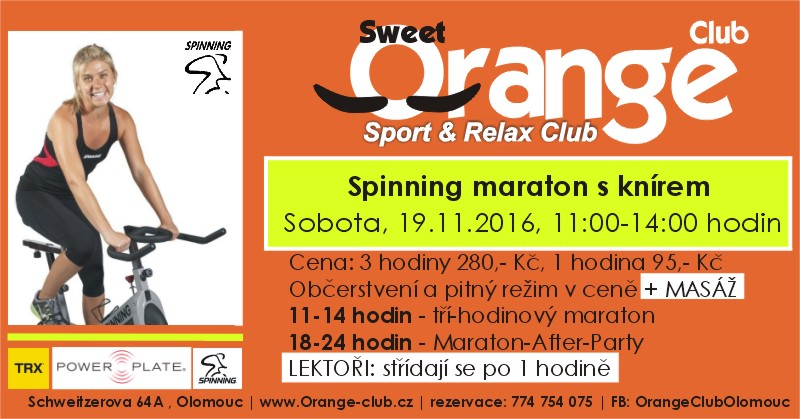 Spinning Maraton s knírem-Sweet Orange Club Olomouc